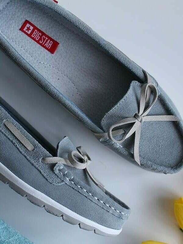 Leather Suede Moccasins - Grey/Beige