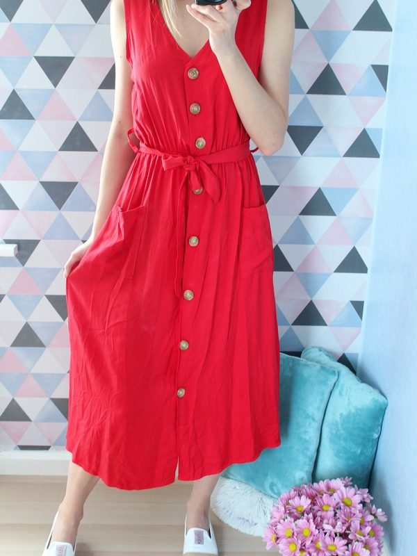 Midi Dress with Buttons - Colors