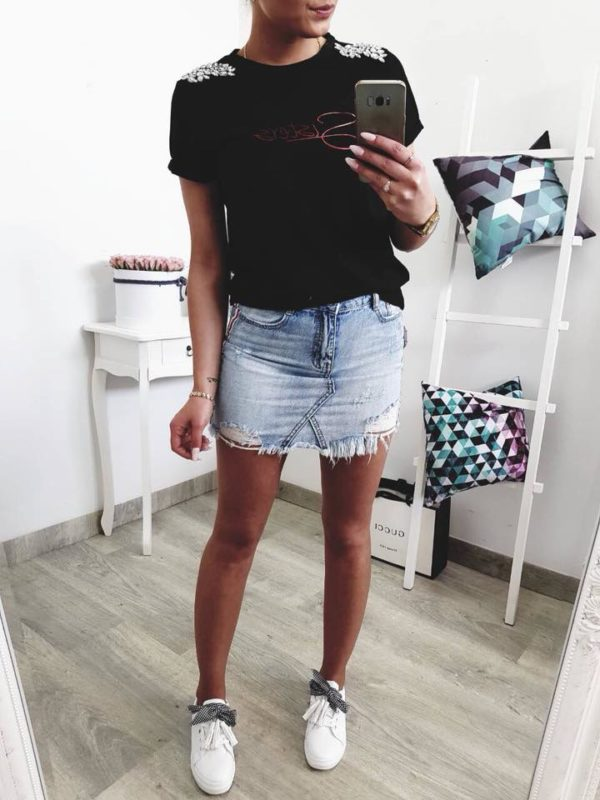 Light Denim Short Skirt