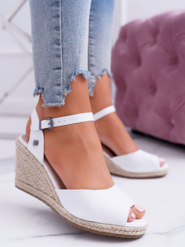 Wedge-heel Sandals White
