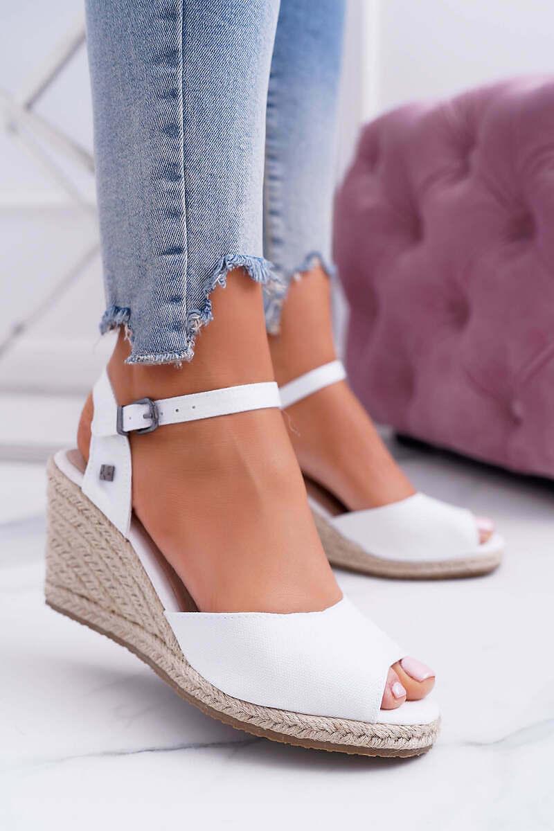 Wedge-heel Sandals White